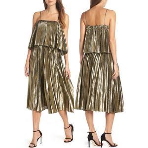 J. Crew Collection Gold Lamé Pleated Midi Dress